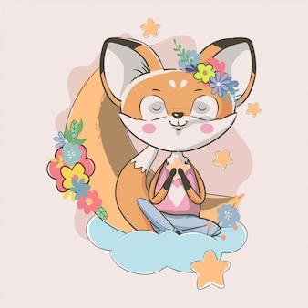 Ręcznie rysowane ładny mały lis z kwiatami i księżyc