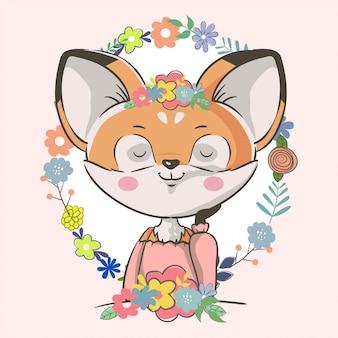 Ręcznie rysowane ładny mały lis z kwiatami