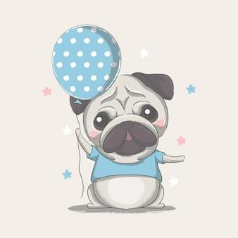 Ręcznie rysowane ładny mały mops z balonem ilustracji
