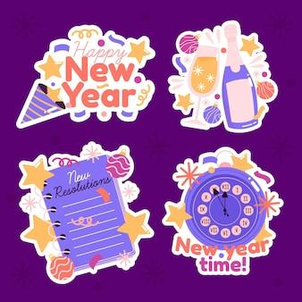 Ręcznie rysowane ładny nowy rok kolekcja