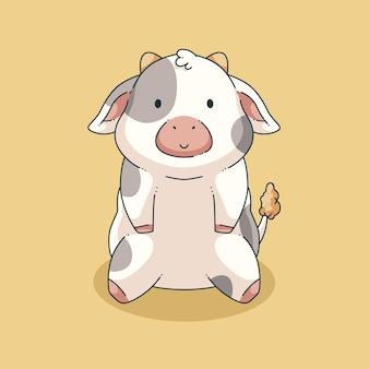 Ręcznie rysowane ładny projekt ilustracji krowy
