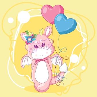 Ręcznie rysowane ładny smok i balony