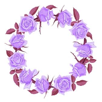 Ręcznie rysowane ładny wieniec kwiatowy z różami.