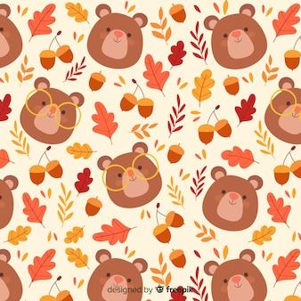 Ręcznie rysowane ładny wzór jesień
