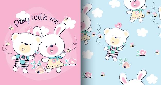 Ręcznie rysowane ładny wzór niedźwiedzia i królika i karty