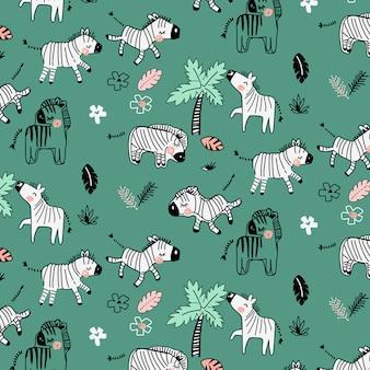 Ręcznie rysowane ładny wzór zebry