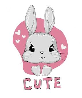 Ręcznie rysowane ładny zabawny mały króliczek różowy
