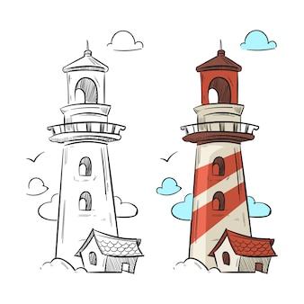 Ręcznie rysowane latarnia morska