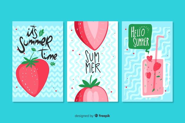 Ręcznie rysowane lato karty szablon