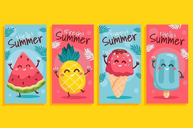 Ręcznie rysowane lato kolekcja opowiadań na instagramie