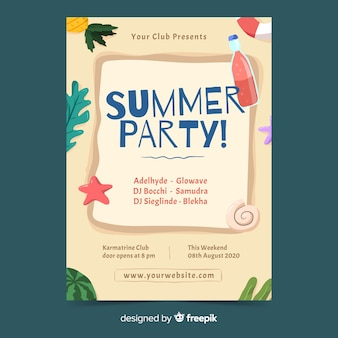 Ręcznie rysowane lato party plakat szablon