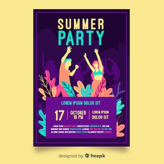 Ręcznie rysowane lato party plakat