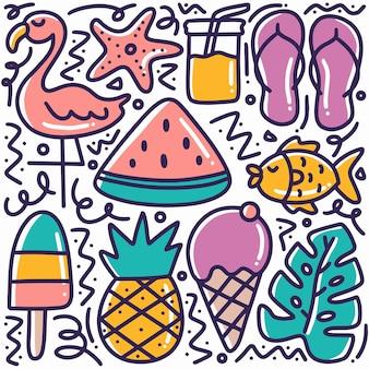 Ręcznie rysowane lato plaża doodle zestaw z ikonami i elementami projektu