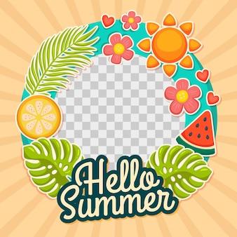 Ręcznie rysowane lato ramka na facebooku