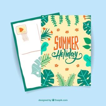 Ręcznie rysowane lato szablon karty z liści