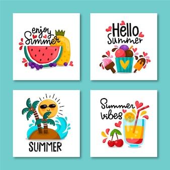 Ręcznie rysowane lato szablon karty