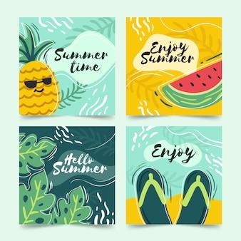 Ręcznie rysowane lato szablon kolekcji kart