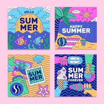 Ręcznie rysowane lato szablon kolekcjonerski karty