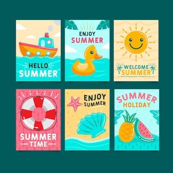 Ręcznie rysowane lato szablon paczka kart