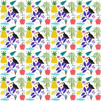 Ręcznie rysowane lato tropikalny wzór