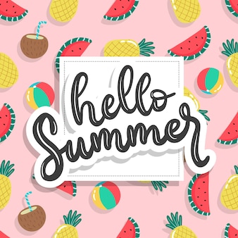 Ręcznie rysowane lato wzór z napisem projekt