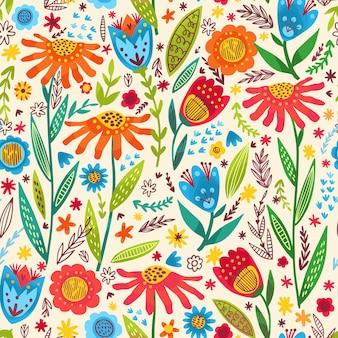 Ręcznie rysowane lato wzór