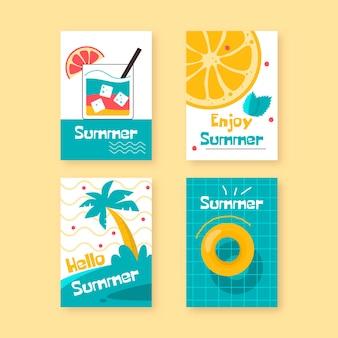 Ręcznie rysowane lato zestaw szablonów kart