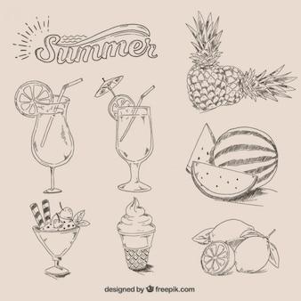 Ręcznie rysowane lato żywności