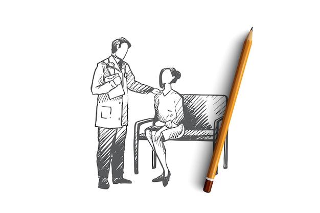 Ręcznie rysowane lekarz rozmawia z pacjentką w szkicu koncepcji szpitala