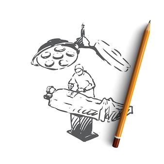 Ręcznie rysowane lekarz wykonujący operację