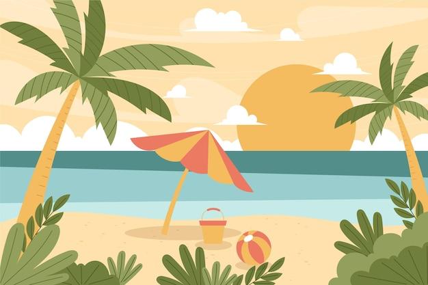 Ręcznie rysowane letni krajobraz plaży