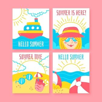 Ręcznie rysowane letnia kolekcja kart