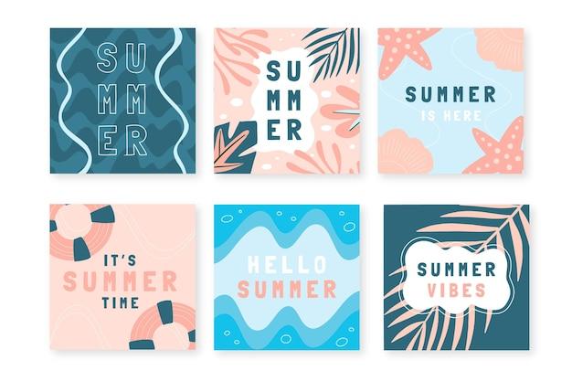Ręcznie rysowane letnia kolekcja postów na instagramie