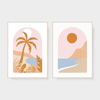 Ręcznie rysowane letnie abstrakcyjne zdjęcia boho z palmowym słońcem i morzem ilustracja wektorowa