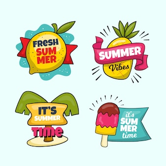 Ręcznie rysowane letnie etykiety