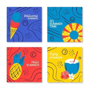 Ręcznie rysowane letnie karty