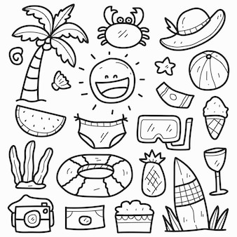 Ręcznie rysowane letnie kawaii doodle projekt kreskówki