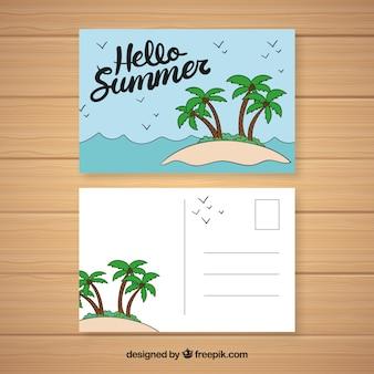 Ręcznie rysowane letnie wakacje pocztówka