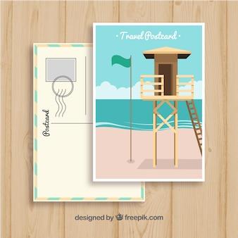 Ręcznie rysowane letnie wycieczki pocztówka szablon