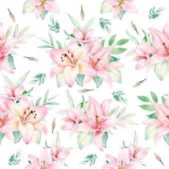 Ręcznie rysowane lilia akwarela bezszwowe wzór