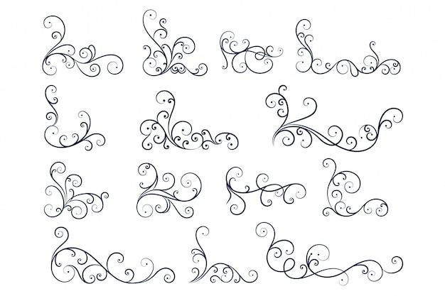 Ręcznie rysowane linii kolekcja dekoracji kwiatowych