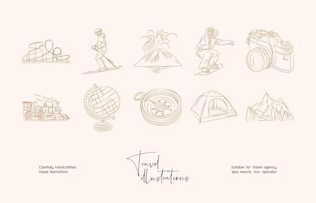 Ręcznie rysowane linii sztuki minimalna podróż wektor ilustracja kolekcja