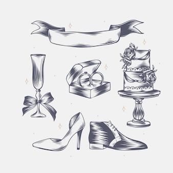 Ręcznie rysowane liniowe grawerowane elementy ślubne