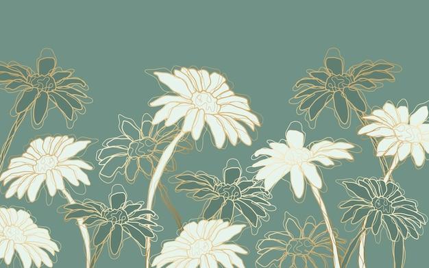 Ręcznie rysowane liniowe grawerowane tło kwiatowy