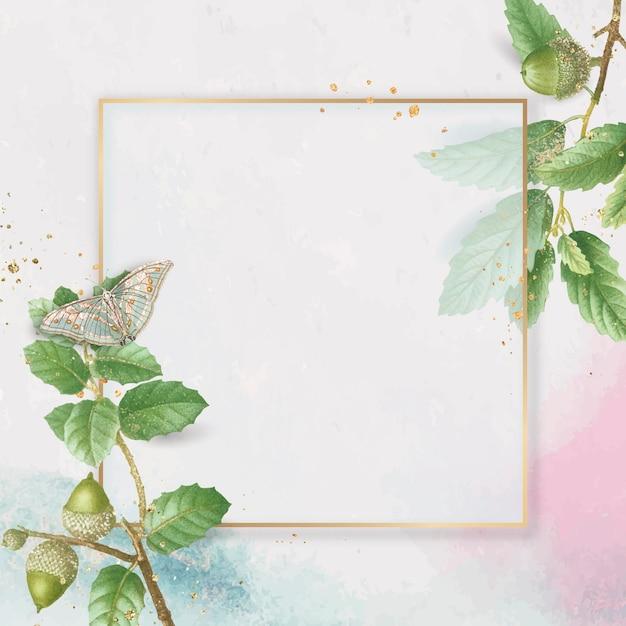 Ręcznie rysowane liść dębu z kwadratową złotą ramą na różowym tle