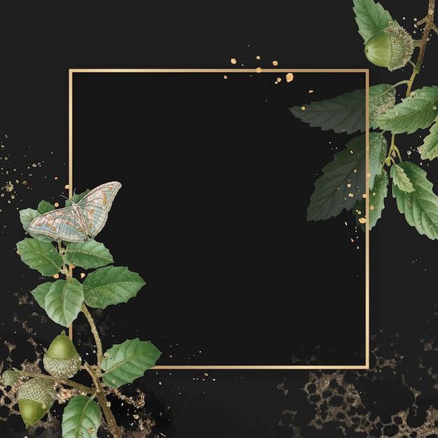 Ręcznie rysowane liść dębu z kwadratową złotą ramą na tle