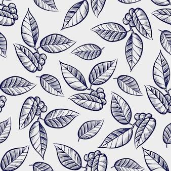 Ręcznie rysowane liście z jagodami wzór
