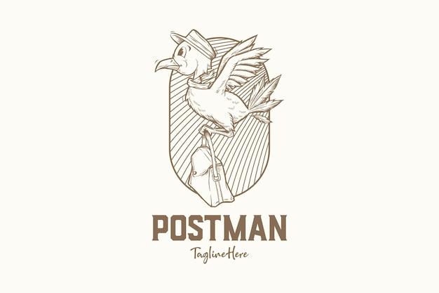 Ręcznie rysowane listonosz ptak logo vintage