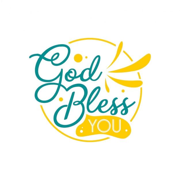 Ręcznie rysowane literowanie cytaty typografii. niech cię bóg błogosławi. inspirujący i motywacyjny projekt wektorowy.