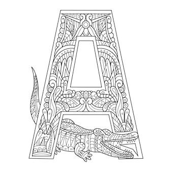 Ręcznie rysowane litery alfabetu a dla aligatora w stylu zentangle